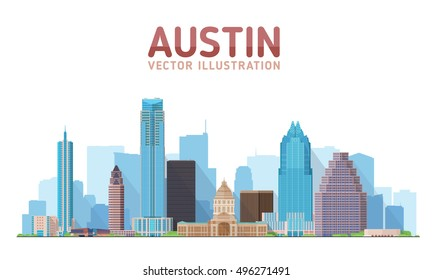 Austin Texas skyline vector illustration. Background with city panorama. Travel picture.