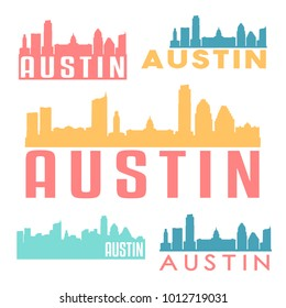 Austin Texas USA Flat Icon Skyline Silhouette Design City Vector Art Famous Buildings Color Set