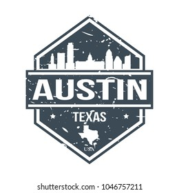 Austin Texas USA Travel Stamp Icon Skyline City Design