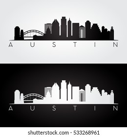 Austin USA skyline and landmarks silhouette, black and white design, vector illustration.