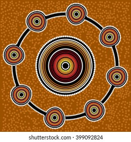 Australia Aboriginal art vector background with dots.