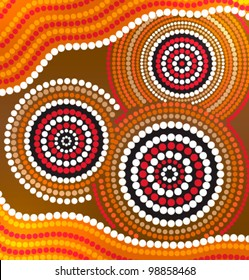 Australia Aboriginal art vector background