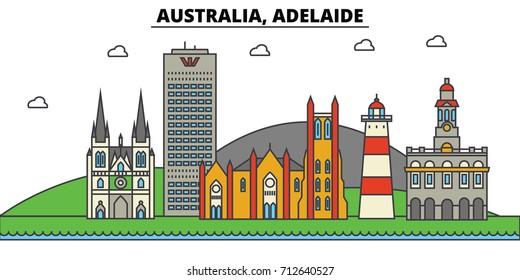 Australia, Adelaide. City skyline: architecture, buildings, streets, silhouette, landscape, panorama, landmarks. Editable strokes. Flat design line vector illustration concept. Isolated icons set