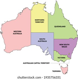 Australia administrative map with states. Colored. Vector