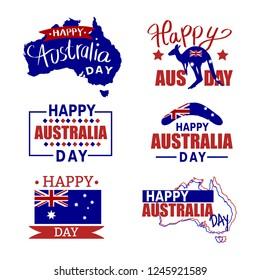 Australia badges set. Australia icon set, flag, kangaroo. Happy Australia Day.Map of Australia with flag. Vector illustration