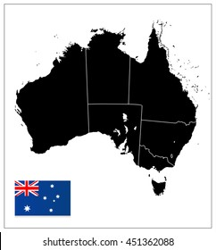 australia black color blank map isolated on white all elements are separated in editable layers