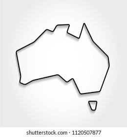 Australia, black outline map, shadow concept