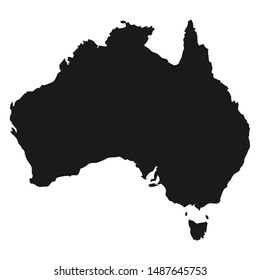 Australia black vector map isolated on white background