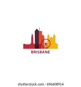 Australia Brisbane city modern skyline panorama silhouette shape vector logo icon