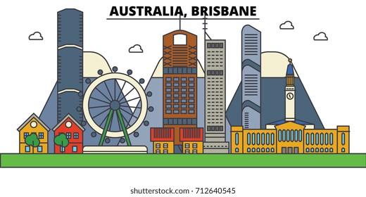Australia, Brisbane. City skyline: architecture, buildings, streets, silhouette, landscape, panorama, landmarks. Editable strokes. Flat design line vector illustration concept. Isolated icons set