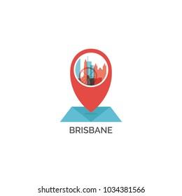 Australia Brisbane map pin point geolocation modern skyline pointer shape vector logo icon illustration
