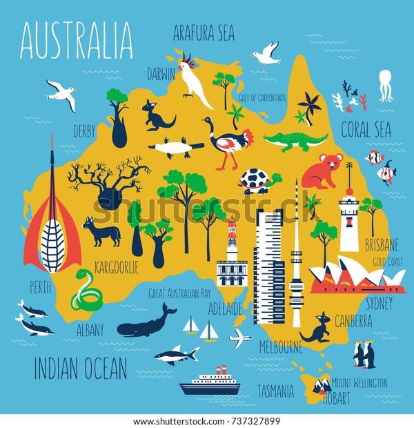 Australien Tegneserie Rejse Kort Vektor Illustration Lagervektor