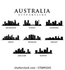 Australia Cities - City Tour Skyline Illustration