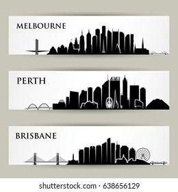 Australia cities skylines - vector illustration