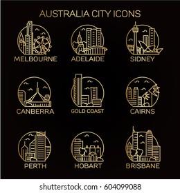 Australia city icon set. Vector