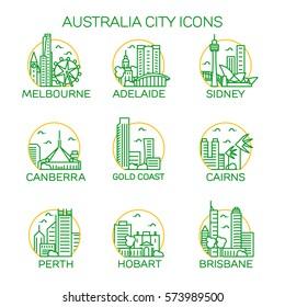 Australia city icons. Vector