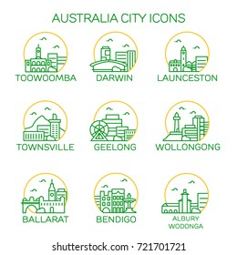 Australia city icons. Vector