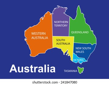 australia colorful map in blue background australia map vector map vector