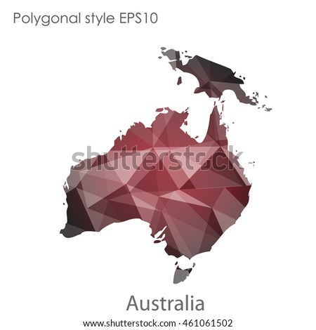 Australia Continent Map Geometric Polygonal Style Abstract Stock ...