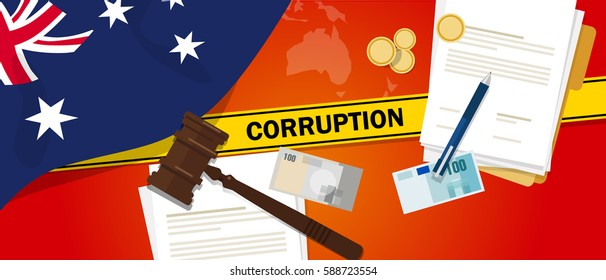 Australia corruption money bribery financial law contract police line for a case scandal government official
