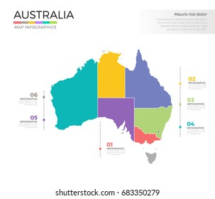 Australia country map infographic colored vector template with regions and pointer marks