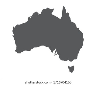 Australia country vector illustration map with black