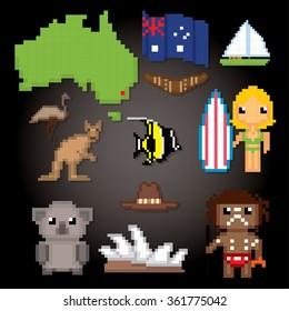 Australia culture symbols icons set. Pixel art. Old school computer graphic style.