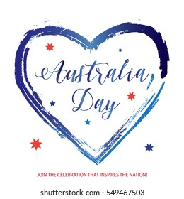 Australia day 26 January Calligraphy Text poster with heart shape, stars on white background. Greeting card design. Vector illustration. Australian flag color. Patriotic sign, wallpaper. Brash drawing