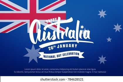 Australia Day. Banner for Australia National Day with Australia National Flag and lettering