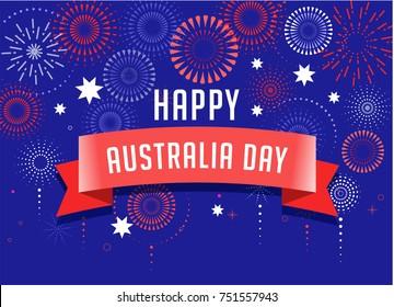 Australia day, fireworks and celebration background, poster, banner