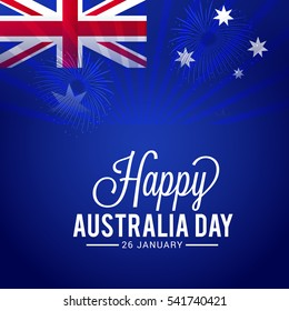 Australia day flag blur background.Poster or banner layout.