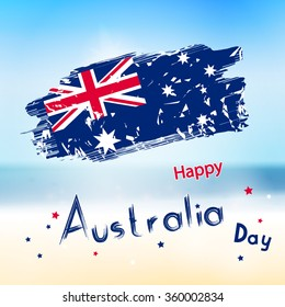 Australia day with grange flag on blur background. Sea and ocean in vector. Simple holiday text for australia day