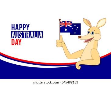 Australia day illustration with cartoon kangaroo holding Australian flag
