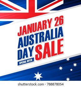 Australia Day, january 26 Holiday Sale special offer background with australian national flag colors for business, promotion and advertising. Vector illustration.