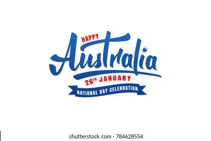 Australia Day. Lettering logo for Australia National Day