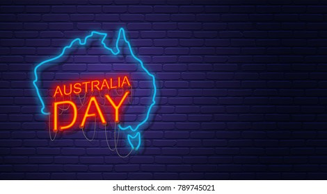 Australia Day. Neon sign on brick wall. Map of Australia. Australian National Holiday. Horizontal banner template.