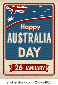 Australia day poster in vintage style, vector illustration