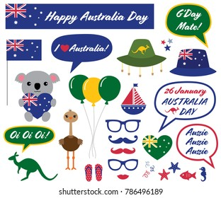 Australia Day vector photo booth props and design elements