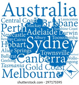 Australia design map with largest cities.