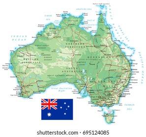 Australia - detailed topographic map - vector illustration