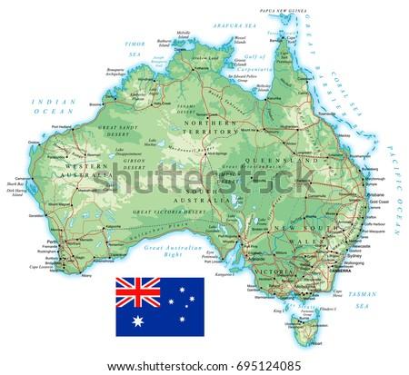 Australia Detailed Topographic Map Vector Illustration Stock ...