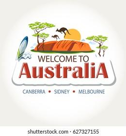 Australia features header text sticker message