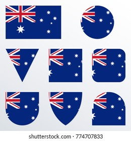 Australia flag icon set. Australian flag button or badge in different shapes. Vector illustration.