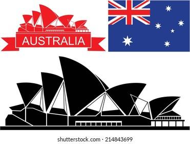 Australia flag. Isolated Australia buildings on white background