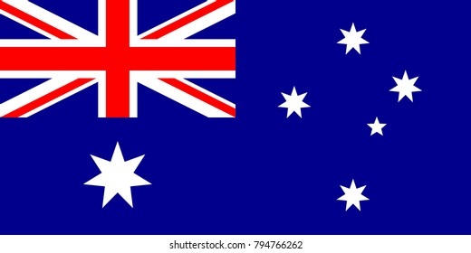 Australia Flag with official colors and the aspect ratio of 1:2. Flat vector illustration.