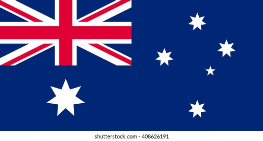 Australia flag, official colors and proportion correctly. National Australia flag. Flat vector illustration. EPS10.