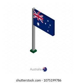 Australia Flag on Flagpole in Isometric dimension. Isometric blue background. Vector illustration.