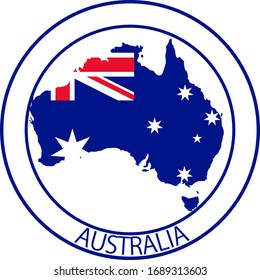 Australia flag on map of country; isolated on white background. Vector logo sticker button