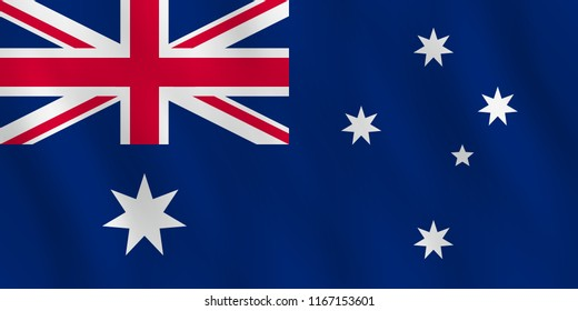 Australia flag with waving effect, official proportion.