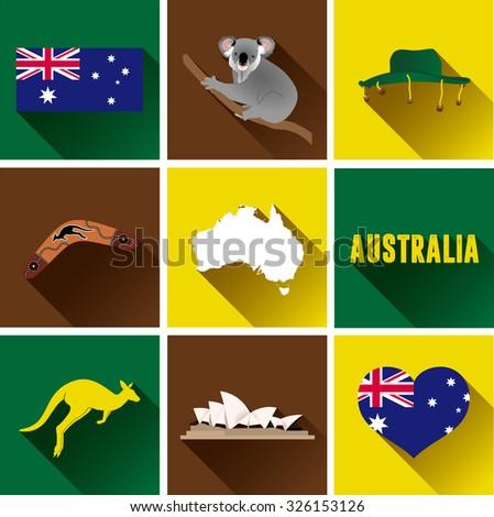 Australia Flat Icons Set Vector Graphic Stock Vector Royalty Free